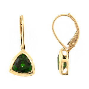 9K Russian Diopside Gold Earrings 1337AW