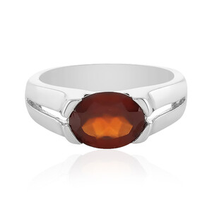 Hessonite Garnet Silver Ring 1736JJ