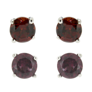 Mozambique Garnet Silver Earrings 2204JH