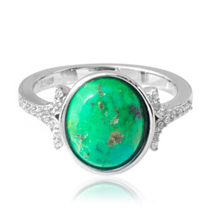 Kingman Green Mojave Turquoise Silver Ring 2261QQ