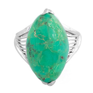 Kingman Green Mojave Turquoise Silver Ring 3213UP