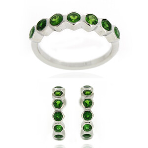 Russian Diopside Silver Ring 3993FS