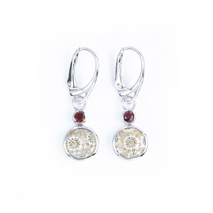 Petrified Coral Silver Earrings 4622BH
