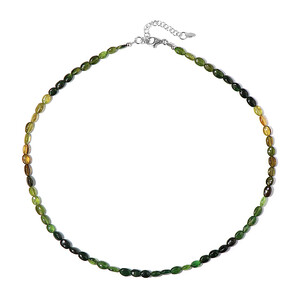 Green Tourmaline Silver Necklace 5060BS
