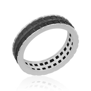 Black Spinel Silver Ring 5173AC