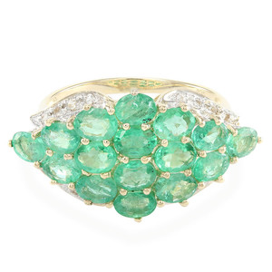 9K AAA Zambian Emerald Gold Ring 5198SB