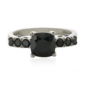 Black Spinel Silver Ring 5745WF