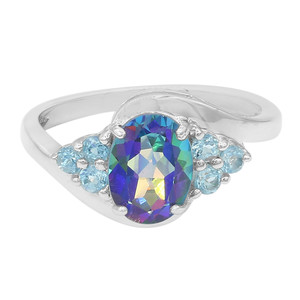 Mystic Blue Topaz Silver Ring 5949OR