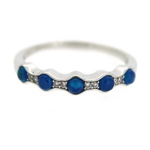 Neon Blue Opal Silver Ring 6626QY
