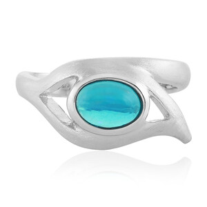 Äthiopischer Blauer Opal-Silberring (MONOSONO COLLECTION) 7080JS