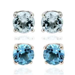 Sky Blue Topaz Silver Earrings 8058AV