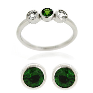 Russian Diopside Silver Ring 9101DW