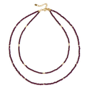 Magenta Garnet Silver Necklace 9485LO