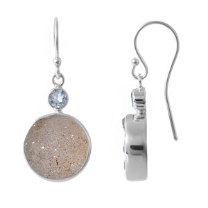 Druzy Agate Silver Earrings 9526ML