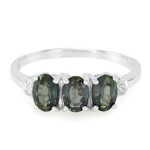 Green Sapphire Silver Ring 9864MB
